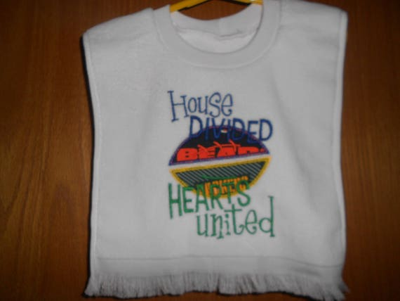 Bears and Packers House divided  Embroidered  Bib
