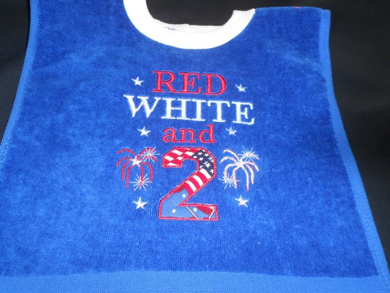 Red White and 2  Embroidered Blue Bib