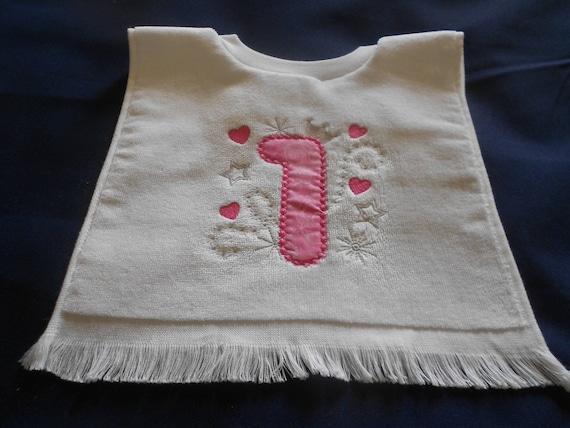 1st Birthday Girls Embroidered  Over the head  Bib
