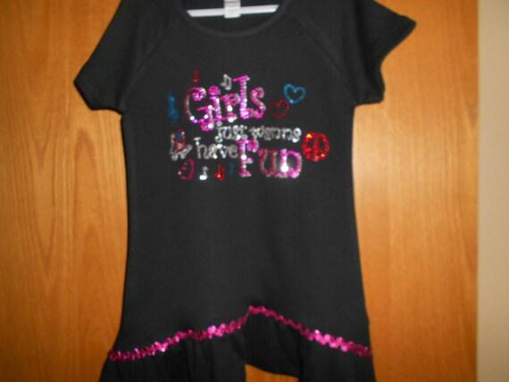 Rhinestone Girls just want to have fun t Shirt