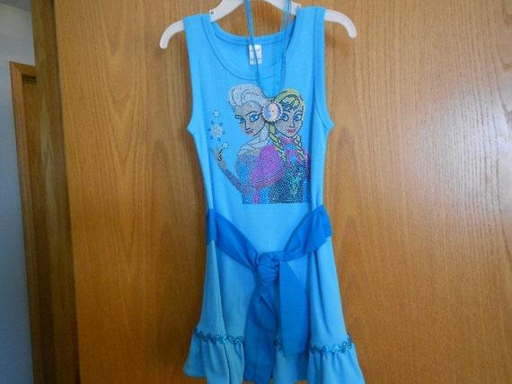 SALE Elsa And Anna Size  4 Rhinestone   Dress