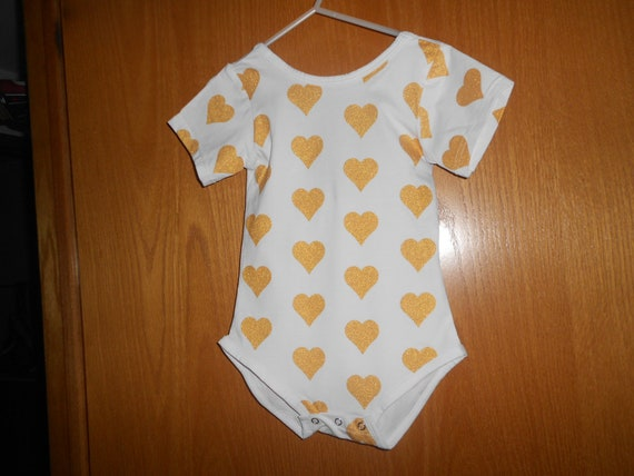 Gold Hearts with Bow in back Onesie