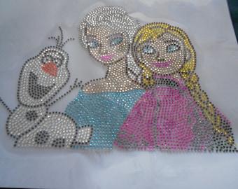 Elsa And Anna  with olaf  Rhinestone Transfer