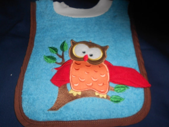 Owl with Washcloth, over the head bib