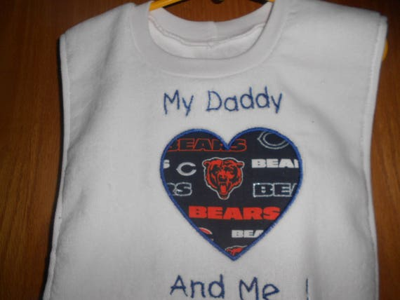 Football  Heart with Team My Daddy And Me Embroidered  Bib