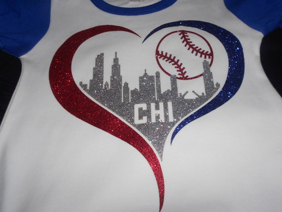 Glitter Chicago Skyline with Cubs Baseball Transfer