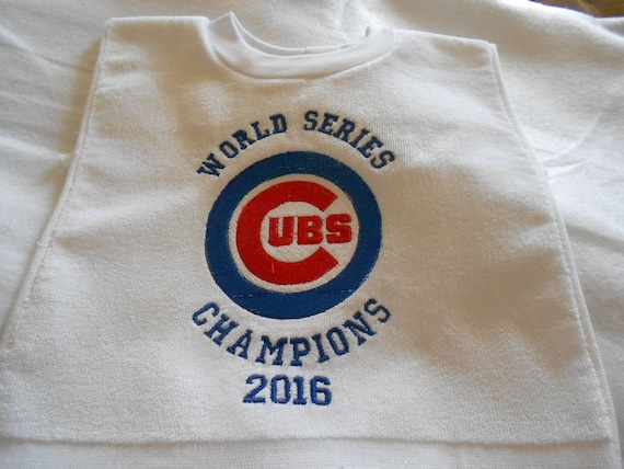 Over the head Chicago Cubs World Series  Embroidered Bib