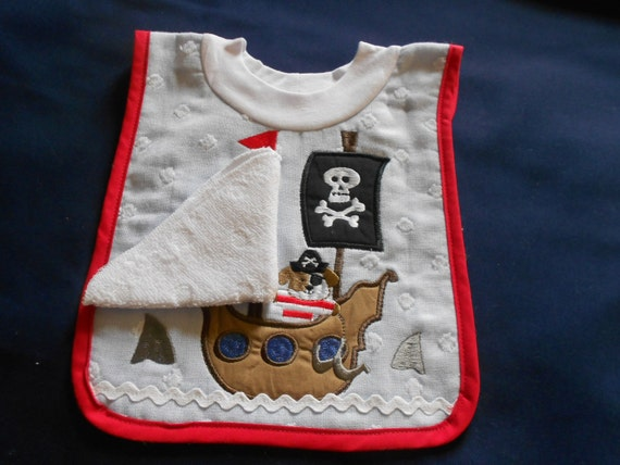 Pirate Ship with Washcloth, over the head bib