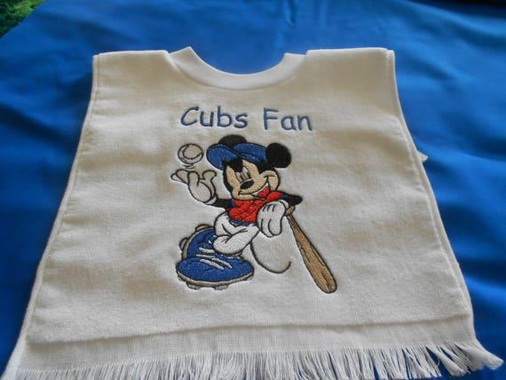 Mickey baseball Player Cubs Fan Embroidered  Bib