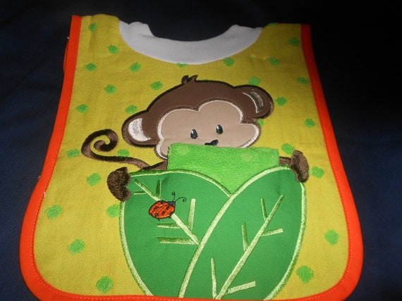 Monkey with Washcloth, over the head bib