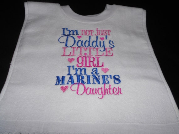 Over the head Marines Daughter Embroidered Bib