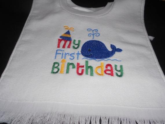 Boy's or Girl's Whale 1st Birthday Bib