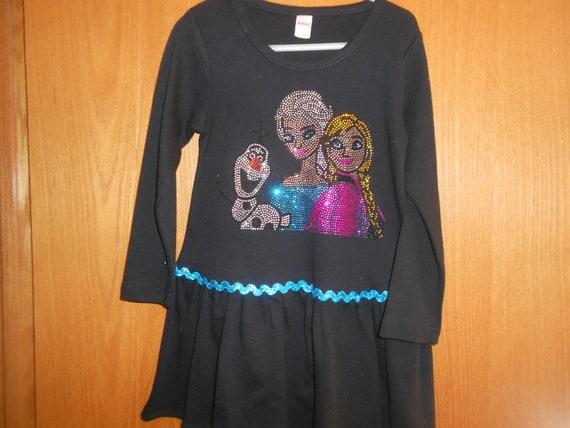 SALE Elsa And Anna Size 4 Long Sleeve Rhinestone   Dress