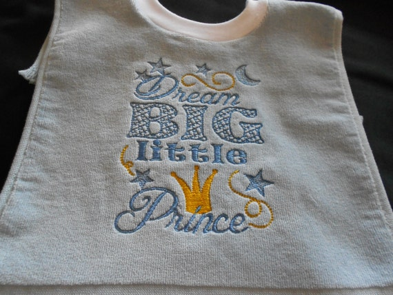 Over the head  Dream Big Little Prince Light Blue Embroidered Bib