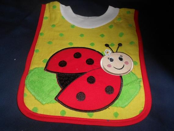 Ladybug with Washcloth, over the head bib