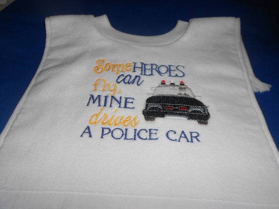 My Hero drives a Police Car   over the head bib