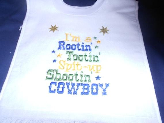 Rootin Tootin Cowboy over the head bib