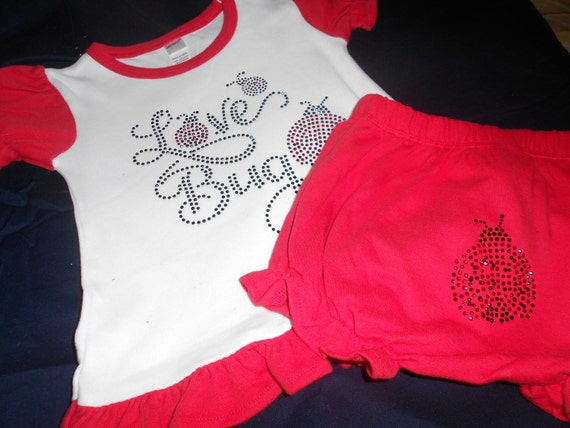 Love Bug Rhinestone 2 pc Red and White outfit