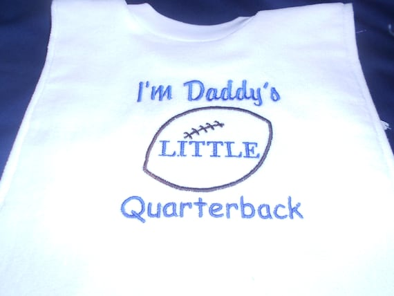 Daddy's Little Quarterback over the head bib