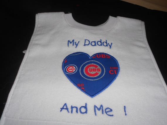 Baseball Heart with Team My Daddy And Me Embroidered  Bib