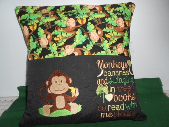 Monkey  Reading Pocket Pillow