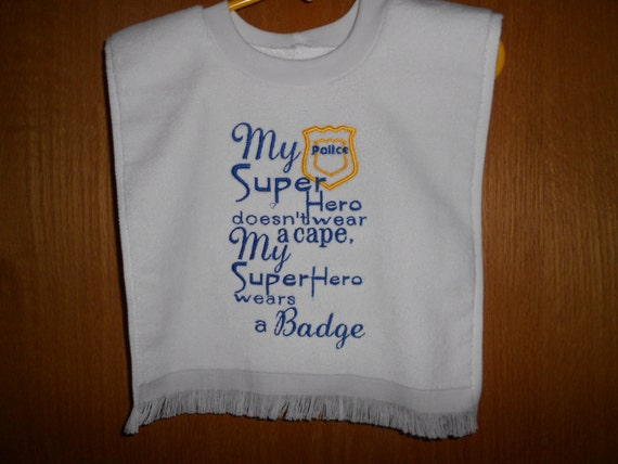 Over the head Super Hero wears a badge Embroidered Bib