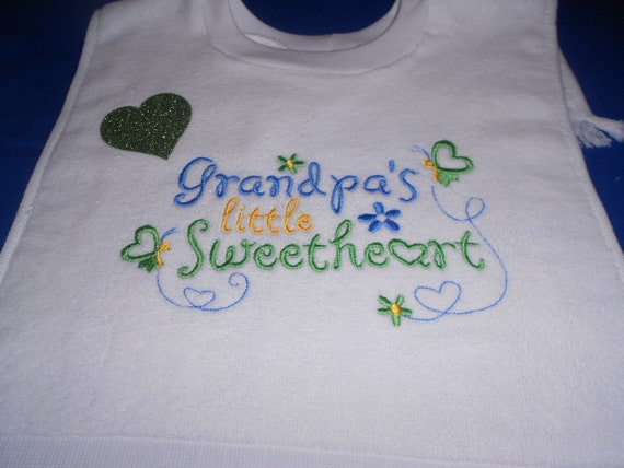 Grandpa's Little Sweetheart over the head bib