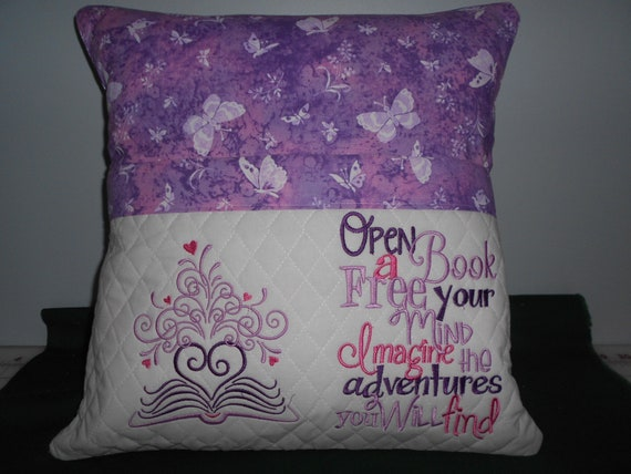 Book with Butterflies Reading Pocket Pillow