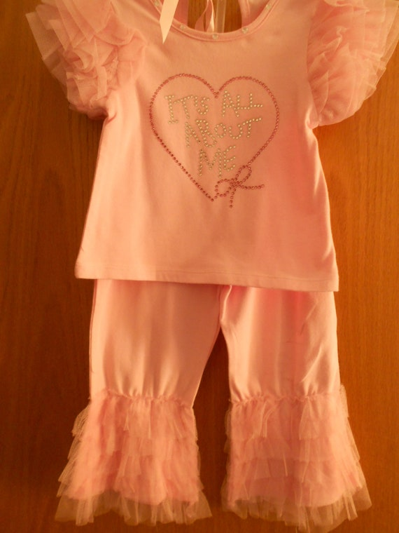 SALE Pink Pants and top Size 3-4 All about Me in Rhinestones