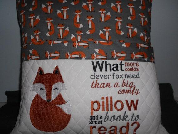 Fox Reading Pocket Pillow