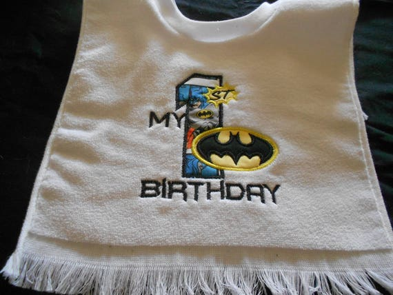 First Birthday Batman  Embroidered  Bib