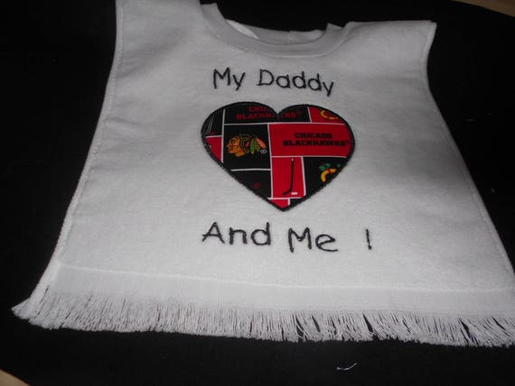 Hockey Heart with Team My Daddy And Me Embroidered  Bib