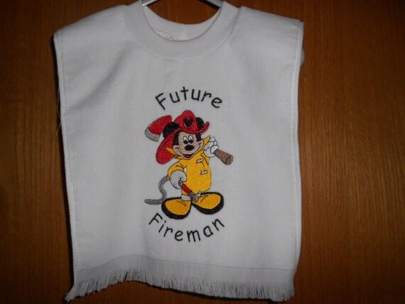 Mickey Future Fireman Embroidered Bib