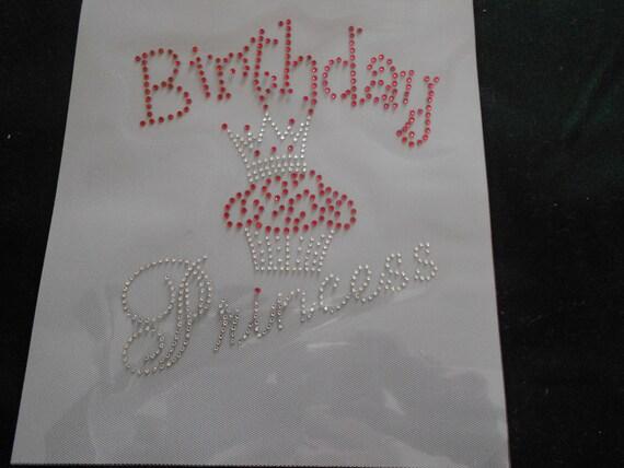 Birthday Princess  Rhinestone Transfer