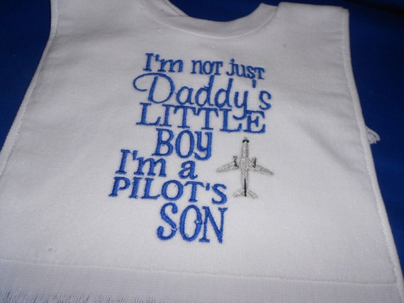 Over the head  Pilots Son Embroidered Bib