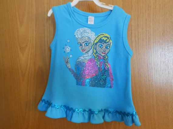 SALE Elsa  and Anna In Rhinestones TShirt Size 2 only