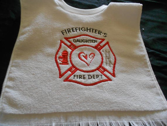 Firefighters Daughter Embroidered  Bib