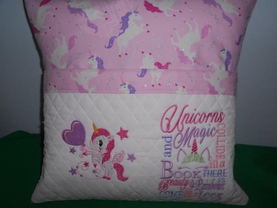 Unicorn  Reading Pocket Pillow
