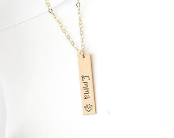 Personalized Pet Name Bar Necklace. Stamped Custom Jewelry with Dog Name. Pet Loss, Dog Memorial Necklace, Paw Print Jewelry