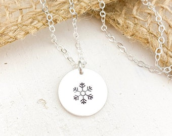 Personalized Circle Necklace - Snowflake Symbol, Or Your Choice of Initial, Symbol, Monogram. Dainty Layered Disc Necklace. Christmas