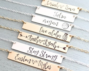 Monogram or Name Necklace, Personalized Bar Necklace With your Custom Words.  Initial Necklace in REAL Rose Gold-Filled, Gold-Filled, Silver