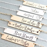 Personalized Bar Necklace. Calligraphy Font Hand Stamped Custom Name Bar Necklace. Mother's Day Bar Necklace. Hand Lettering. Gift for Mom