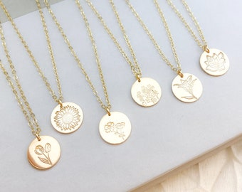 Dainty Silver, Gold, or Rose Disc Necklace. Birth Flower Necklace, Birthday Gift For Her. Minimalist Stamped Jewelry with Adjustable Chain.