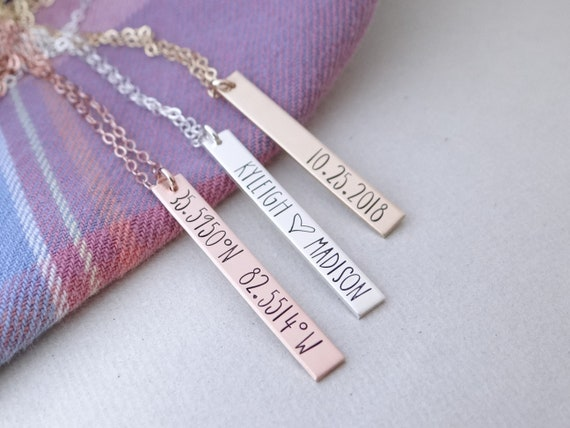 Silver Pink Box 3D Vertical Bar Inspirational Necklace Mama Bear Multiple Colors Available