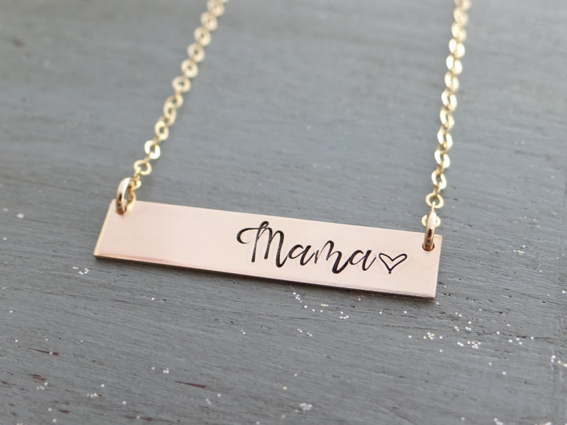 d6df3be303905c Mama Personalized Bar Necklace. Stamped Custom Name Bar | Etsy