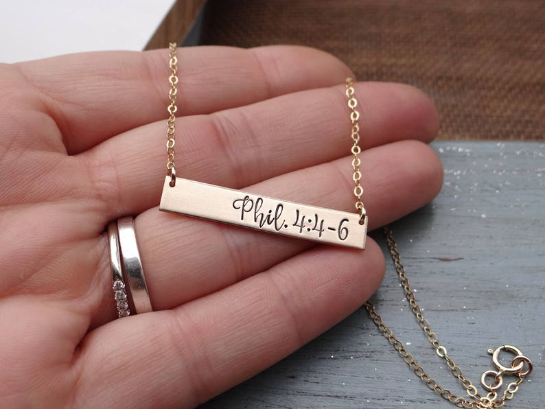 Personalized Scripture Bar Necklace. Hand Stamped Bible Verse image 0