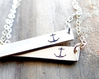 Anchor Bar Necklace. 14kt Gold or Sterling Silver Hand Stamped Jewelry. Minimalist, Layering Bar Necklace, Anchor Jewelry, Gold Bar Necklace