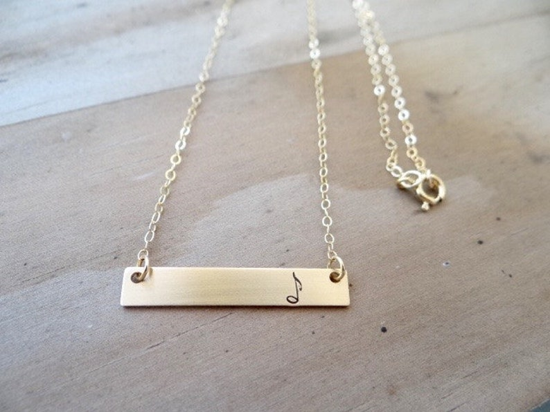 Layering Bar Necklace Hand Stamped Jewelry Musician Jewelry Engraved Necklace Minimalist Music Note Musical Note Gold Bar Necklace