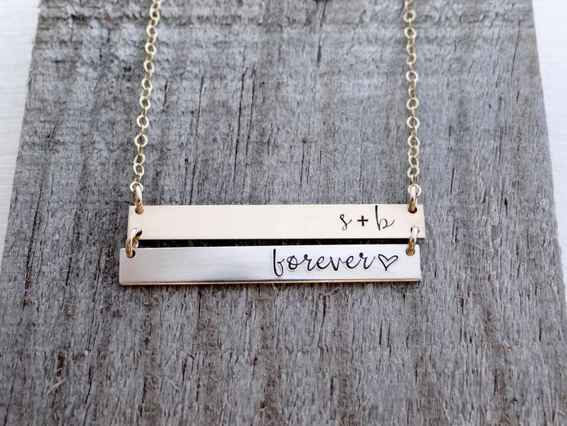 d0b342ed838de DOUBLE Bar Necklace, Personalize with Custom Name. Stamped Mom Jewelry.  Personalized Initial Bar Necklace. Mother Necklace.