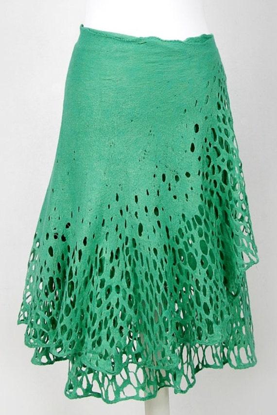 Doseth all light Felted Lithuania open luxury mint work green in Regina felt lace skirt wrap EU original season handmade Az46wAxq